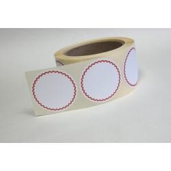 Rozetki samoprzylepne biało - czerwone, śr. 53 mm